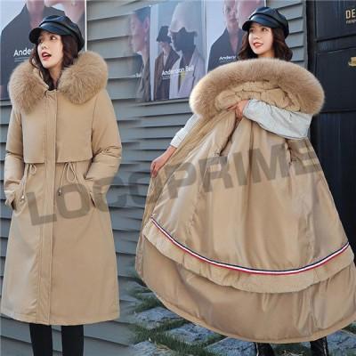 中綿ジャケット レディース ロング丈 ファー フード付き 中綿コート 暖かい 体型カバー 大きいサイズ Aライン アウター ロングコート もこもこ 上品 防風防寒