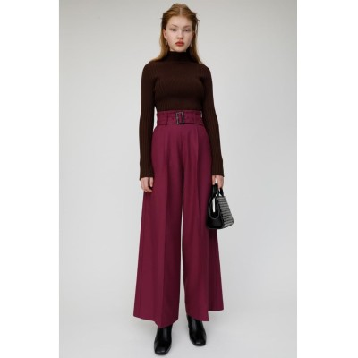 マウジー moussy BELTED WIDE PANTS (パープル)