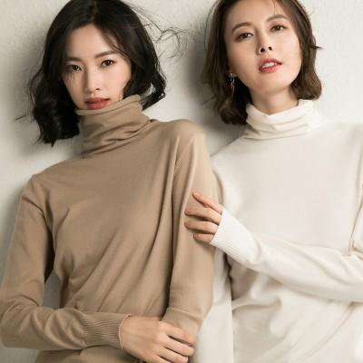 2020秋冬韓国の人気タートルネックセーター 長袖 韓国ファッションワンラインネックスリムスリミングソリッドカラーボトムスセーター プルオーバー ニット トップス