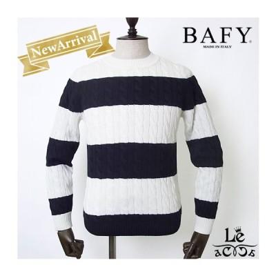 BAFY バフィー メンズ クルーネック ニット ワイドボーダー プルオーバー セーター ホワイト ネイビー イタリア製  国内正規品 セール 送料無料