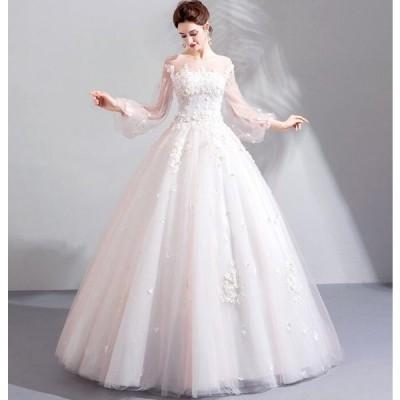 ウェディングドレス 結婚式 花嫁 二次会 パーティードレス プリンセスライン ウエディングドレス 豪華 ブライダル オブショルダー 白 ホワイト バックレス