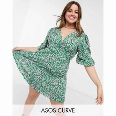 エイソス ASOS Curve レディース ワンピース ASOS DESIGN Curve mini tea dress with twist front in green floral print グリーンフロー