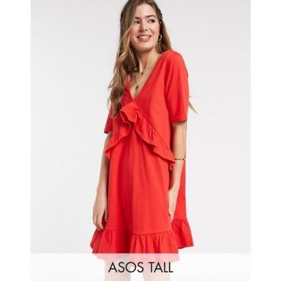 エイソス ASOS Tall レディース ワンピース ワンピース・ドレス Asos Design Tall Exclusive V Front Frill Seam Smock Dress In Red レッド
