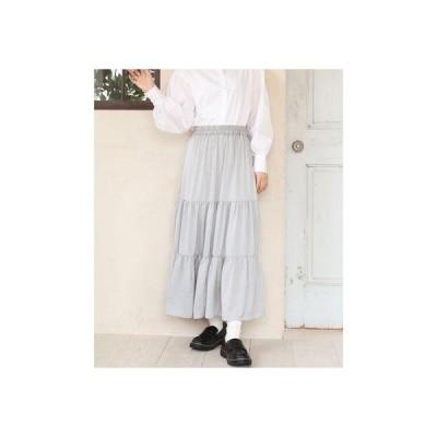 レトロガール RETRO GIRL サテンティアードスカート (Lグレー)