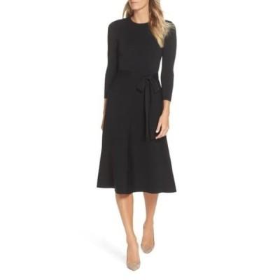 エリザジェイ レディース ワンピース トップス Fit & Flare Sweater Dress BLACK