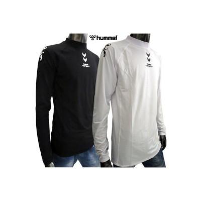 ヒュンメル hummel メンズ トップス ロンT 長袖 ロゴ  roargunsコラボ 2color フロント・ショルダーロゴプリントタートルネックロンT 白/黒 (R5400) 91A