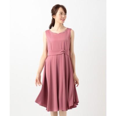 Feroux 【洗える!】バックシャンリボン ドレス (ローズ系)