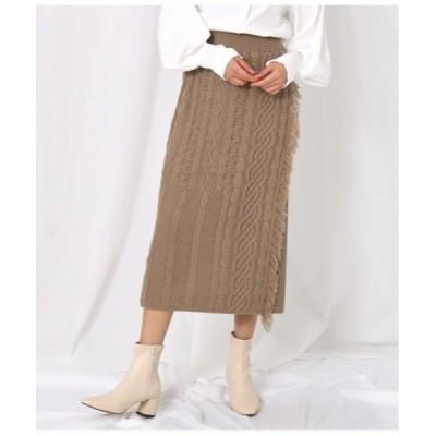 スカート ケーブル編みラップタイトスカート