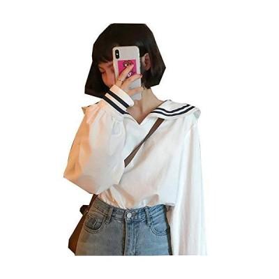 [ウンセン]ブラウス 長袖 レディース ゆったり カットソー セーラー襟 ファッション トップス おしゃれ プルオ