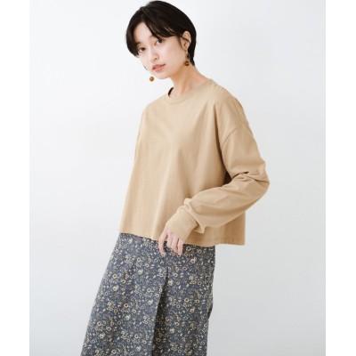 【ハコ】 ゆるシルエットがオシャレ見え&華奢見せを叶える 便利すぎるロングTシャツ レディース ライト ベージュ LL haco!