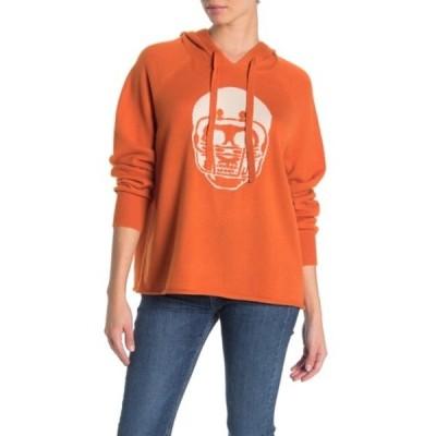 スカルカシミア レディース ニット&セーター アウター Collegiate Skull Cashmere Hoodie TEXAS ORANGE/CHALK