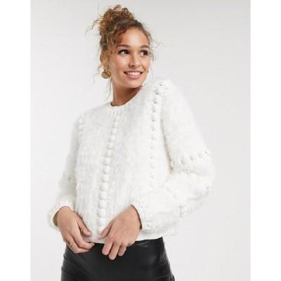 エイソス レディース ニット&セーター アウター ASOS DESIGN premium hand crochet bobble sweater Cream