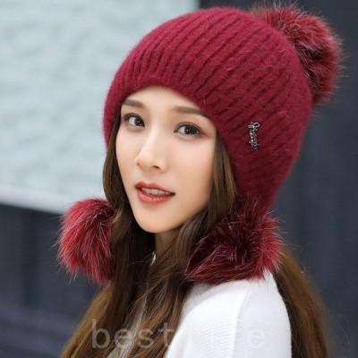 ニット帽レディース秋冬厚手帽子ニット柔らかキャップhatアウトドアポンポン付きあったかいオシャレ冬耳当て
