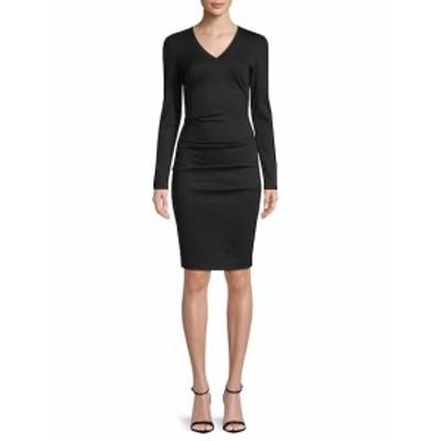 ニコールミラー レディース ワンピース V-Neck Tuck Knee-Length Dress