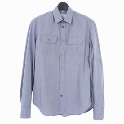 【中古】未使用品 メゾンマルジェラ Maison Margiela 14 16AW ポケット ワークシャツ 長袖 40 ブルー 青 S50DL0290