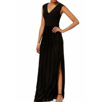 Adrianna Papell アドリアーナ パペル ファッション ドレス Adrianna Papell NEW Black Womens Size 10P Petite Metallic Velvet Gown