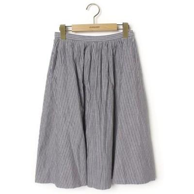 スカート ストライプ柄フレアスカート