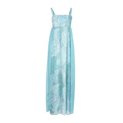 LUCKYLU  Milano ロングワンピース&ドレス ターコイズブルー 42 ポリエステル 100% ロングワンピース&ドレス