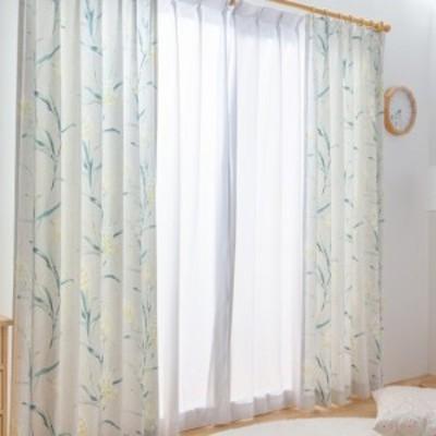 カーテン 遮光なし ドレープカーテン 形状記憶付き 花柄 フラワー 幅100~200 丈90~230 国産 40サイズ展開(代引不可)【送料無料】