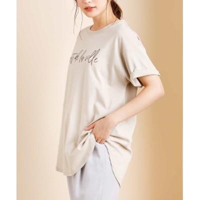 【アー・ヴェ・ヴェ】 ロゴビッグTシャツ レディース ベージュ S a.v.v