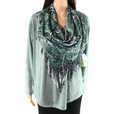 One  ファッション トップス One World NEW Green Women Size Large L Scarf Long Sleeve Knit Top