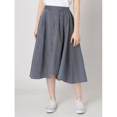 【WOMEN】裾ヘムストライプフレアースカート