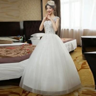 Aラインドレス/ウェディングドレス/ウエディングドレス/ビジュー/花柄/レース/床付き/編み上げ/ホワイト/S~XL/wd71
