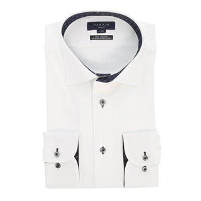 ノーアイロン高機能 スリムフィットワイドカラー長袖ニットビジネスドレスシャツ/ワイシャツ