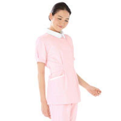 KAZENKAZEN レディスジャケット半袖 (ナースジャケット) 医療白衣 ピンク S 279-23(直送品)