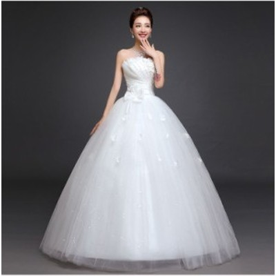 ウエディングドレス レディース  プリンセスドレス 白い ブライダルドレス 花嫁 Aライン 編み上げ ロング丈 演奏会 前撮り ドレス