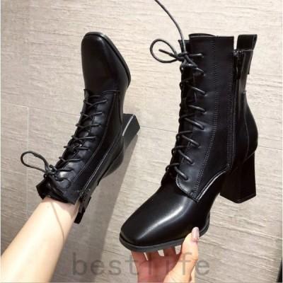 ショートブーツレディース歩きやすいブーツショートブーツヒール編み上げかっこいいサマーブーツシンプルレースアップブーツ