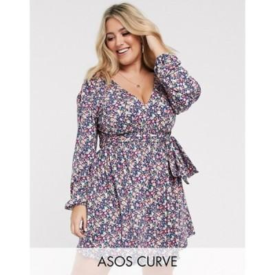 エイソス レディース ワンピース トップス ASOS DESIGN Curve long sleeve mini dress with shirred waist in blue ditsy print