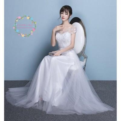 ウエディングドレス 安い 白 ロングドレス 袖あり 結婚式 花嫁 ブライダル ウエディングドレス Aラインドレス 二次会 パーティードレス 演奏会 フォーマルドレス
