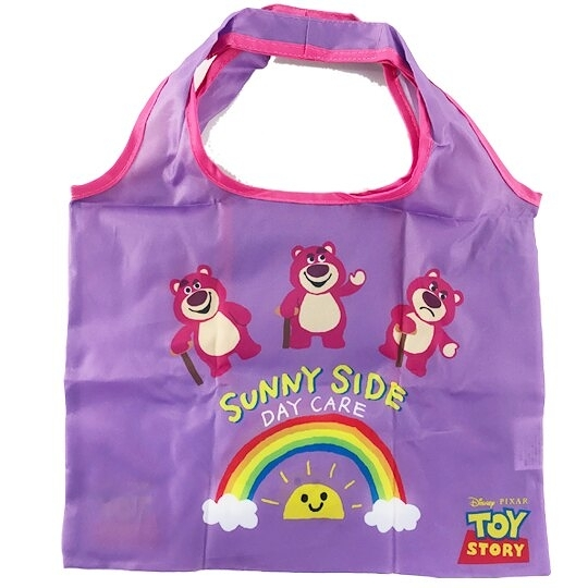 小禮堂 迪士尼 熊抱哥 折疊尼龍環保購物袋 環保袋 側背袋 手提袋 (紫 彩虹) 4549204-71253