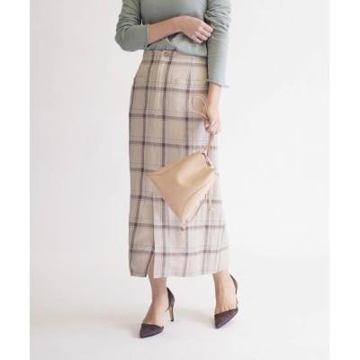【シップス】 リネンチェックタイトスカート◇ レディース ベージュ 38 SHIPS