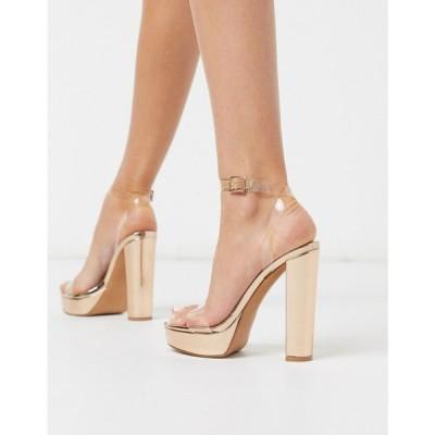 エイソス ASOS DESIGN レディース サンダル・ミュール シューズ・靴 Nutshell clear platform barely there heeled sandals クリア/ローズゴールド