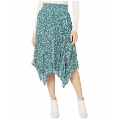 ワンステイト レディース スカート ボトムス Woodland Floral Handkerchief Hem Midi Skirt Veridian Emerald Multi