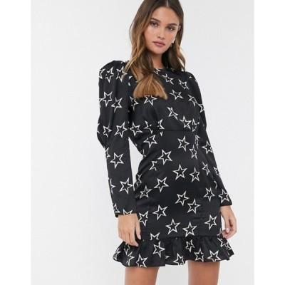 リバーアイランド レディース ワンピース トップス River Island mini dress with puff sleeves in black star print