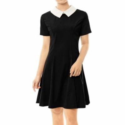 uxcell 国内出荷 スケータードレス ブラックドレス ドレス ピーターパンカラー 半袖 女性用 ブラック