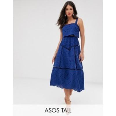 エイソス レディース ワンピース トップス ASOS DESIGN Tall broderie cami midi prom dress with lace inserts Navy