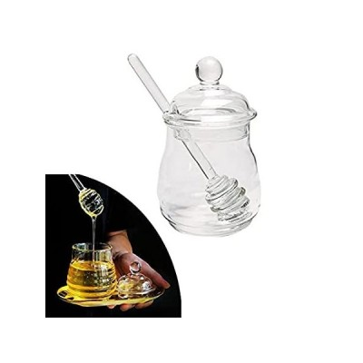 Glass Honey Pot with Lid and Dipper, Handmade Honey Jar for Home Kitchen Co