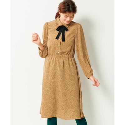 【大きいサイズ】 小花柄リボンタイ付ワンピース(オリーブ。デ。オリーブ) ワンピース, plus size dress