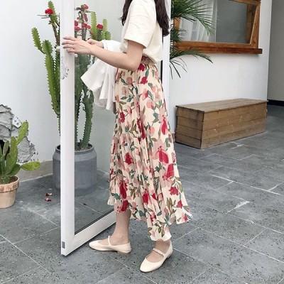 プリーツスカートロング3色カラフル大花柄ボタニカルロングスカートマキシ丈レディース大人女子可愛い人気華やか