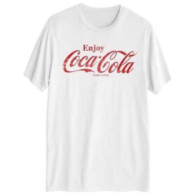 ハイブリッド Tシャツ トップス メンズ Enjoy Coke Distressed Men's Short Sleeve Graphic T-shirt White