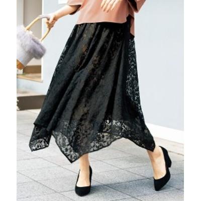 スカート ひざ丈 大きいサイズ レディース イレヘム レース ブルー系/黒系 L/LL/3L ニッセン
