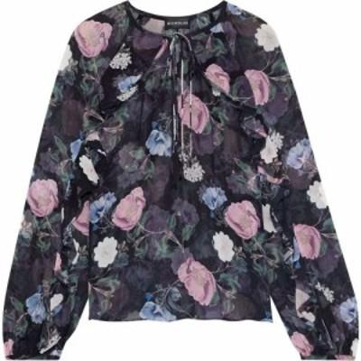 ニコラス NICHOLAS レディース ブラウス・シャツ トップス ruffle-trimmed floral-print silk-georgette blouse Black