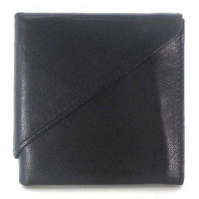 【中古】アブラサス abrasus 旅行財布 二つ折り 財布 薄型 小型 レザー ブラック 黒