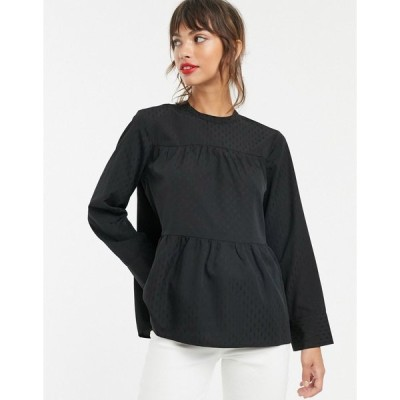 ヴェロモーダ シャツ ブラウス レディース Vero Moda geo print smock blouse in black エイソス ASOS ブラック 黒