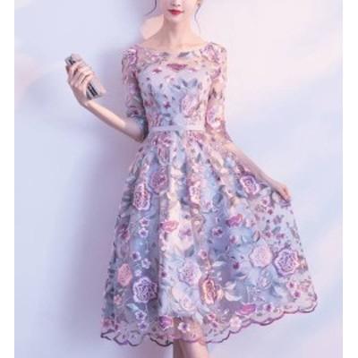 パーティードレス 大きいサイズ ワンピースドレス ミモレ丈 花柄 シースルー 刺繍 Aライン フレア お呼ばれ 成人式 二次会 披露宴 演奏会