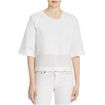 レディース 衣類 トップス DKNY Womens Cropped Basic T-Shirt White Small Tシャツ